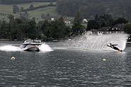 Arturo Nelson waterskiing at lake Wolfgang